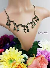 Glass Jewels Bronze Halskette Kette Collier Vintage Blätter Fantasy Perlen #N006