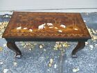 Antique Vintage Coffee Table Made in India Rosewood Bone Inlay Elephant Figures