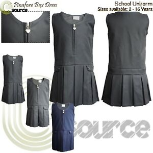 Girls Pinafore Box Dress Sizes Age 2-16 Pleated Dress Zip School Uniform