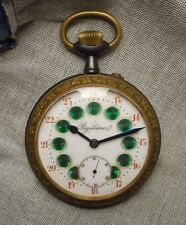 Large Antique French Regulateur Pocket Watch - Enameled Dial Steel & Brass Case