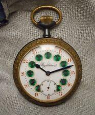 Big Antique French Regulateur Pocket Watch - Gunmetal Steel Case & Brass Bezel