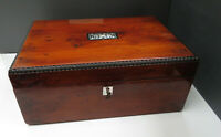 Antique Victorian 19th C Burr Yew, Ladies Sewing Work Box - MOP / Beaded