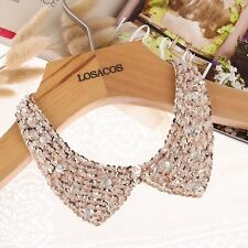 Vintage Gold Sequin beads knitted cloth Ribbon Fake collar Choker Necklaces