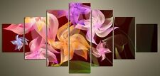 """LARGE ABSTRACT FLOWER CANVAS WALL PICTURE SPLIT 7 PANELS FLASH ART 56"""" 28"""" 1775"""
