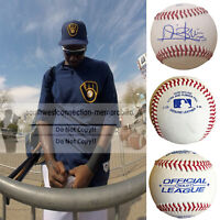 Lewis Brinson Miami Marlins Signed Autograph Baseball Milwaukee Brewers Proof
