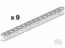 LEGO Technic - 9 x Studless Beams - 15L - Transp - Liftarms - New - (NXT,EV3)