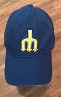 Seattle Mariners STIHL MLB Trident Baseball Hat Cap Strapback Cap Blue/Yellow VG