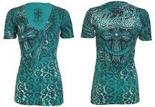 Rebel Saints Affliction Womens S/S T-Shirt HIGH FLYER Biker TEAL Sinful S-XL $40