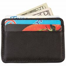 Mens Genuine Leather Slim Wallet w/ Money Clip, Black Front Pocket Card Holder