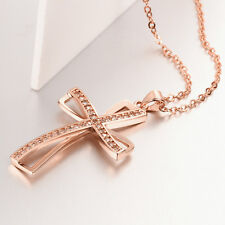 Rose Gold Filled Crystal Rhinestone Cross Pendant Long Chain Necklace Jewelry
