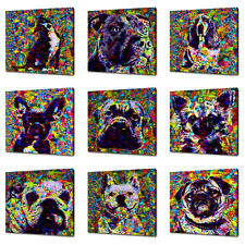 Colourful Animals Dogs Acrylic Painitng Style Kids Room Canvas Print Wall Art