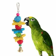 Parrot Toy Colorful Wood Star Rattan Ball Birds Parakeet Decorative Hanging Cage
