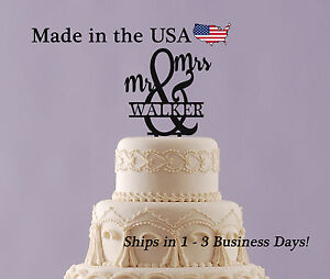 Mr & Mrs Cake Topper, Acrylic, Personalized Name, Last Name, Wedding Gift,LT1018