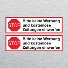 2 x STOP Bitte keine Werbung Briefkasten Aufkleber witterungsbeständig