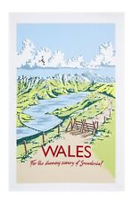 """Ulster Weavers, """"Kelly Hall Wales"""", Pure cotton tea towel. Printed in the UK."""