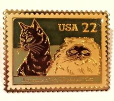 Postage Stamp Replica Pin Abyssinian & Himalayan Cats Usps