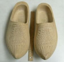 """Hand Carved, Unpainted Wooden Shoes : 12.5"""" in Length from Holland"""