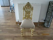 More details for wooden gold painted chair with gold fabric - statement chair - collection only