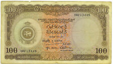 Central Bank of Ceylon 1956 One Hundred 100 Rupees p-61 VG+