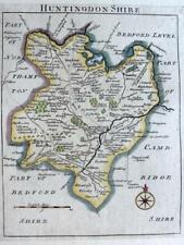 HUNTINGDONSHIRE HUNTINGDON    BY JOHN ROCQUE GENUINE ANTIQUE MAP  c1769