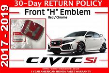 Genuine OEM Honda Civic 5dr Type R Front Grille H Emblem 2017-2019 Hatchback Red