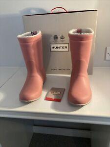 Women's HUNTER Insulated Roll Top Sherpa Boots. Hibiscus Pink. U.K. 6. BNIB
