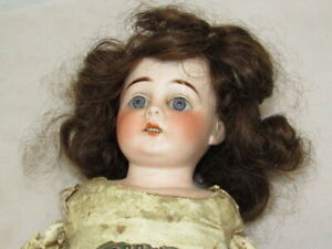FRENCH LORRAINE BISQUE DOLL LEATHER BODY OPEN MOUTH TEETH GLASS EYE REAL HAIR