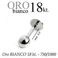 Piercing body TRAGO 6mm CORPO LABRET LABBRO in ORO BIANCO 18kt. white GOLD