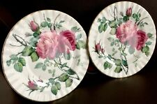 "Pair of Hand Painted 1992 Roy Kirkham ""English Rose"" 8.5""/21cm Bone China Plates"