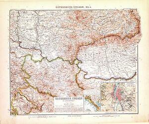Carta geografica antica BALCANI Austria Ungheria Dalmazia Budapest 1907 Old map