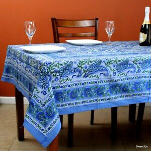 Cotton Paisley Floral Block Print Tablecloth Rectangle Blue Kitchen Dining Linen