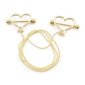 "Heart Nipple Chain 14g 18"" Length Ball Chain Surgical Steel"