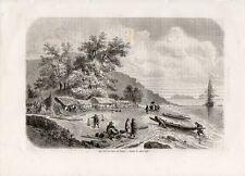 Stampa antica SAIGON veduta del fiume città Ho Chi Minh Vietnam 1861 Old print