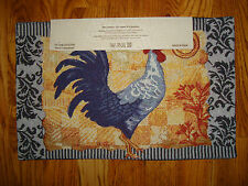 Home Impressions Tapestry Placemats Set of 4 New! 13X9 ROOSTER Damask BLUE Vine