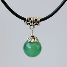 Fashion Green Jade Bead Pendant Necklace Tibetan Silver Choker Chain Womens Gift