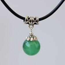 Charms Green Jade Bead Pendant Necklace Tibetan Silver Chocker Chain Womens Gift
