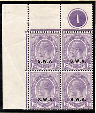 KGV Top left corner block of 4 control 1 with  S.W.A. overprint- Violet -- Mint