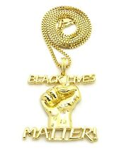 """NEW BLACK LIVES MATTER PENDANT WITH 24"""" BOX CHAIN"""