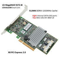 LSI MegaRAID SAS 9272-8i 8 Port SATA/SAS Controller Raid 5 6 PCIe x8 Array Card