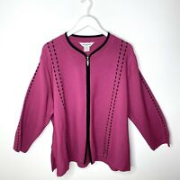 Exclusively MISOOK Pink Knit Women's Black Ribbon Trim Zip Up Jacket, 3X