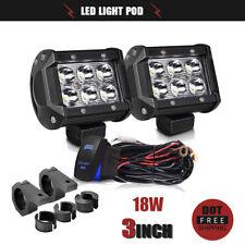 "2x 3""Spot Offroad LED Light Pods Lamp+Pair Holder for Boat Pickup Polaris RZR"
