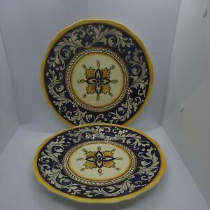"Le Cadeaux Malaga  Blue / Yellow Melamine 11"" Plate set of 3"