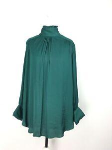Zara Woman Emerald Green High Neck Blouse Pearl Detail Small 8 10 Longsleeve