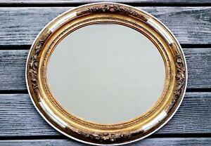 Schöner alter Spiegel oval Rahmen Holzrahme Rose  48 cm x 43 cm - Biedermeier
