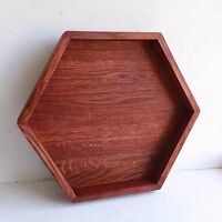 Large Hexagon Wood Serving Tray Wooden Ottoman Tray Coffee Table Snack Holder