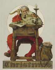 Rockwell Norman Santa Reading Mail Canvas 16 x 20       #6822