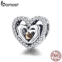 BAMOER 925 sterling silver charm finger heart love with Peave CZ Fit bracelet