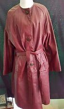 Genuine Mid Century Mod Vintage LEATHER Womens Belted Coat Large Burgundy Pocket