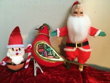Vintage Lot of 3 Christmas Decorations Mid Century 1950's - 1960's Japan 2 Santa