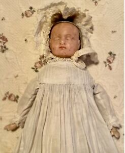"""Antique 17"""" 2 Faced C1860 German Wax Paper Mache Doll W/Orig Body W/Orig Outfit"""